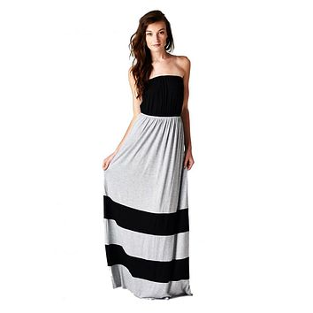 Strapless Colorblock Black Grey Tube Top Maxi Dress