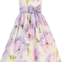 Lilac Floral Print White Cotton Spring Occasion Dress with Taffeta Trim (Toddler & Girls Sizes)