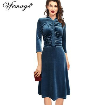 Vfemage Womens Autumn Winter Elegant Ruched 3/4 Sleeve Velvet Vintage Work Party Cocktail Fit and Flare Swing A Line Dress 8137