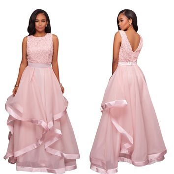 V Back Pink Long Occasion Dress