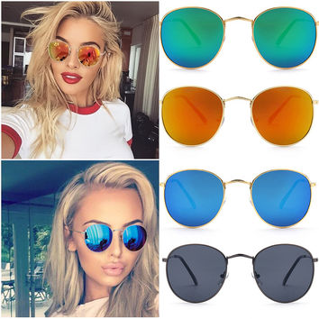 women's mirrored aviator sunglasses mdc4  Fashion Aviator Round Sunglasses Women Men Brand Designer Male Sun Glasses  Female Mirror Glasses Lady Sunglasses