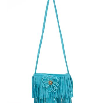 Cach Cach Vintage Style Teal Suede Purse with Fringe