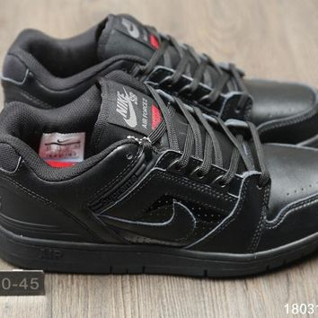 KUYOU N268 Supreme x Nike SB Air Force 2 AF2 World Famous Casual Skate Shoes All Black