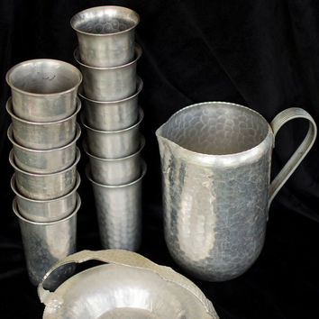 Vintage Aluminum Set Pitcher Twelve Cups Serving Dish Barware Drinking Glasses Beverage Set