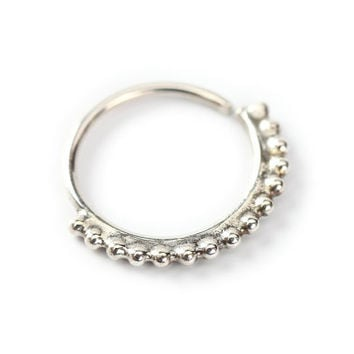 SEPTUM JEWELRY - Hippie style Silver nose ring 925 Sterling silver - A delicate Silver Nose jewelry - septum jewelry - love