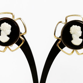 Vintage Cameo Earrings, Antique Celluloid Jewelry, Screw Back, Victorian Lady, Cameo Portrait, Gold Wire Petals, Cameo Jewelry