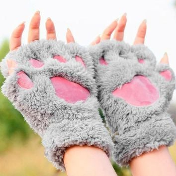 Woman Winter Fluffy Bear/Cat Animal Plush Paw/Claw Gloves Soft Warmth Lovely Novelty Ladys Half Finger Fingerless Covered Gloves