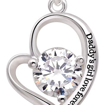 "Jewelry Sterling Silver ""Daddy's girl love forever"" Love Heart Cubic Zirconia Pendant Necklace"