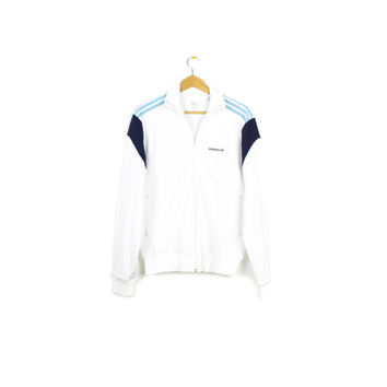 white ADIDAS track jacket - baby blue stripes - vintage rare sample - mens medium