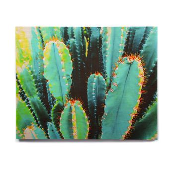 "mmartabc ""Desert Cactus Colorful"" Blue Green Nature Travel Photography Painting Birchwood Wall Art"