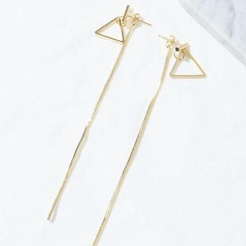 ES257 Triangle Long Tassel Stud Earrings Fashion Jewelry Geometric Brincos Earing pendientes mujer boucles Bijoux