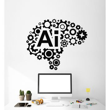 Vinyl Wall Decal Artificial Intelligence AI Working Space Study Office Gears Brain Stickers Mural (g2645)