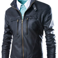 Zipper Design Stand Collar Long Sleeve PU Leather Jacket