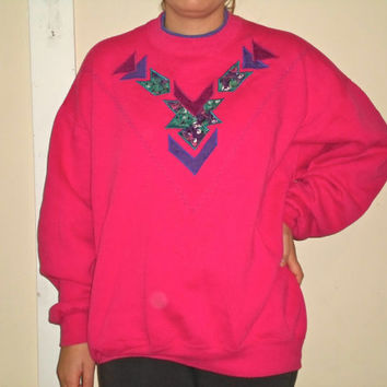 90s Hot Pink Patchwork Quilted Embroidered Crewneck Sweatshirt