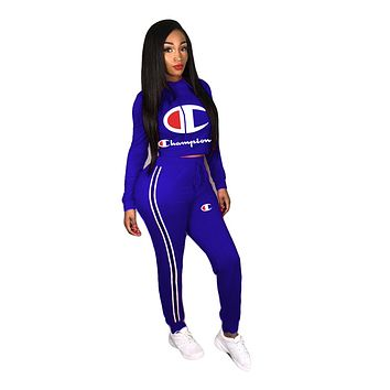 Champion women's solid color wild sports sweater two-piece Blue
