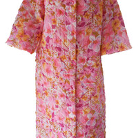 60's Bright Psychedelic Floral Housecoat - Floral Pink & Purple Quilted Long Bathrobe - Size M/L