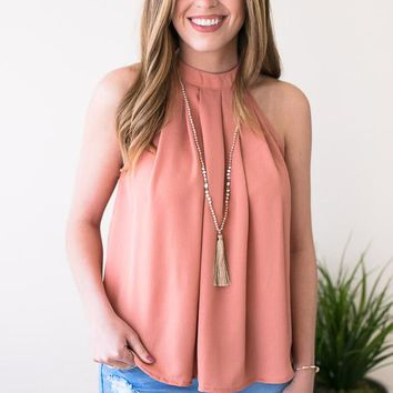 Overtime Halter Neck Top - Apricot
