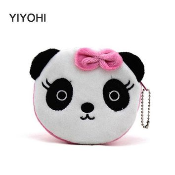 YIYOHI Hot On Sale Kawaii Cartoon Panda/Squirrel Children Plush Coin Bag Purse Zip Change Purse Wallet Kids Girl Women For Gift