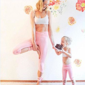 2018 Family Matching Outfits Mother Daughter Kids Baby Girl Yoga Sports Tops Pants Bandage Set Clothes