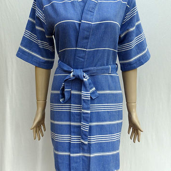 Women's night blue colour soft Turkish cotton short kimono bathrobe, short dressing gown, bridesmaid robe, pool robe.