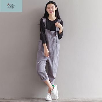 8996# Summer Women's Jumpsuits Vintage Rompers  Salopette Bib Short Brushed Casual Cotton Linen Pants Overalls 2017 New