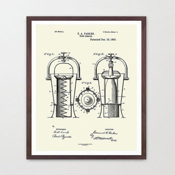 Wine Poster - Wine Art - Wine Cooler Patent Print - Wine Decor - Wine Wall Art - White Wine - Wine Lover - Wine Cellar