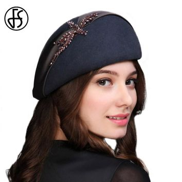 FS 100% Wool Felt Berets With Handmade Rhinestone Flower 2017 Vintage Fashion Beret Hats For Women Solid Color Lady Church Hat