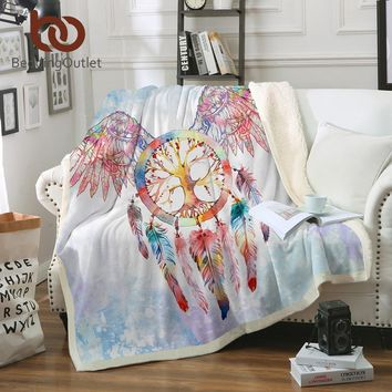 BeddingOutlet Dreamcatcher Sherpa Throw Blanket Angel Wings Bohemian Sherpa Fleece Blanket Cozy Velvet Plush Sofa Decoration