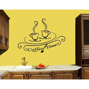 Wall Decal Coffee House Café Drink Cup Tea Kitchen Decor Vinyl Sticker (ed926)