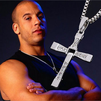 Trendy Male Titanium Dominic Toretto/Vin Diesel Cross Crystal Pendant Chain Necklace For Men Jewelry