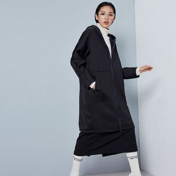 ONETOW Fashion Long Trench Coat For Women Autumn Spring Black Trench Coats Outerwear Loose Coat Space Cotton Hooded Trench Coat