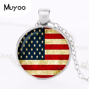 """""""Vintage Flag of the United States Pendant America Flag Necklace Flag Jewelry Glass Cabochon Pendant Silver plated HZ1"""