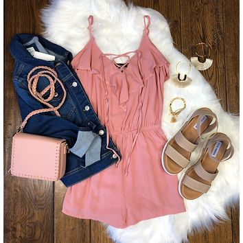 Center of Attention Romper: Rose