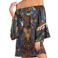 Tassel Sleeve Peasant Dress - Teal /