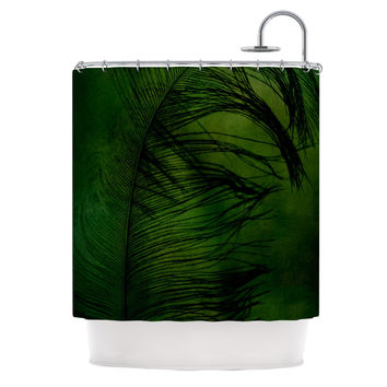 "Robin Dickinson ""Feather Green"" Peacock Shower Curtain"