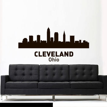 Wall Vinyl Sticker Decals Decor Art Bedroom Design Mural Words Sign Town City Skyline Cleveland Ohio (z3055)