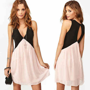 Black Pink Deep V Neck Hollow Chiffon Dress