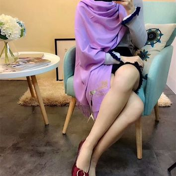Best Online Sale Luxury Burberry Keep Warm Scarf Embroidery Scarves Winter Wool Shawl Feel Silky And Delicate - Purple