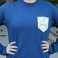 Sigma Delta Tau Long Sleeve Tee Shirt in True Navy with Pattern Pocket by the Frat Collection