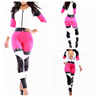 Pink Color Block Plunged Neck Long Sleeve Jumpsuit