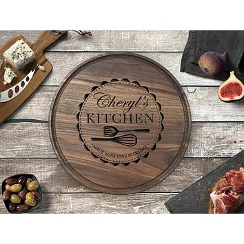 Personalized Engraved Round Cutting Board, Walnut Wood - CB15