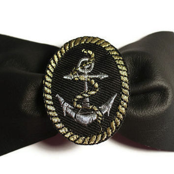 HANDMADE Nautical Leather Anchor Hair Bow by DeathwishDesign