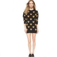 Teddy Bear Printed Long Sleeves Knitted Sweater Dress