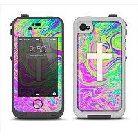 The Vector White Cross v2 over Neon Color Fushion Apple iPhone 4-4s LifeProof Fre Case Skin Set
