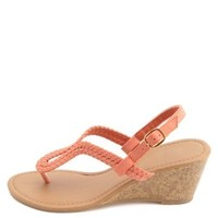 Glitter Braided Loop Thong Wedge Sandals by Charlotte Russe - Coral
