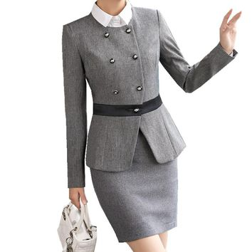Fmasuth Ladies Winter Business Skirt Suit Buttons Blazer Jacket+OL Skirt 2 Pieces Female Office Uniform Woman Skirt Suit ow0401