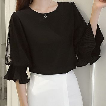 Round Neck  Flounce  Bell Sleeve Blouses
