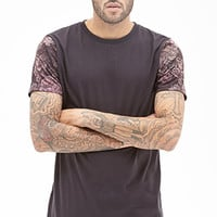 Faded Floral Sleeve Tee Black/Red