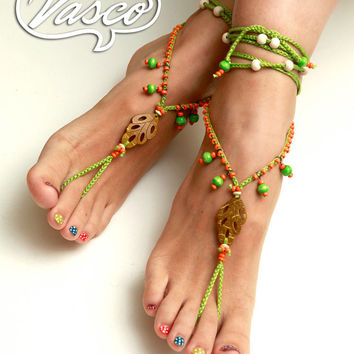 Barefoot Sandals. Hippie Shoes. Gypsy Bellydance Shoes