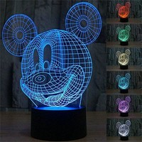 3D Mickey Mouse LED Night Light Touch Table Desk Lamp for Kids Gift, 7 Colors 3D Optical Illusion